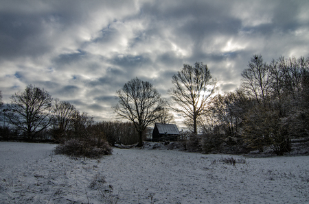 Winter scenery, european countryside before winter storm