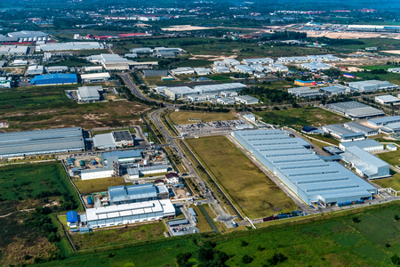 Industrial estate land development construction aerial view Stock Photo