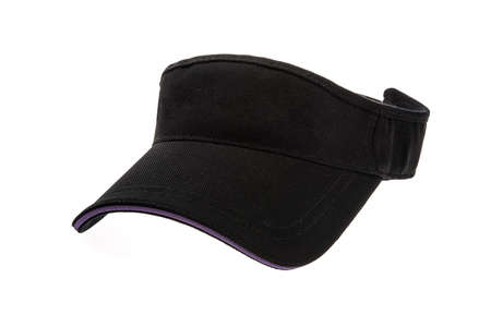 visor: Golf visor adult black on white background Stock Photo