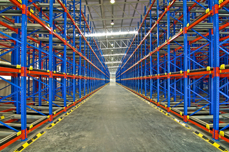 Storage system shelving metal pallet racking in warehouse