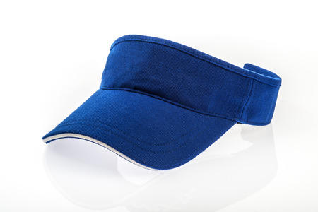 visor: Adult golf blue visor on white background