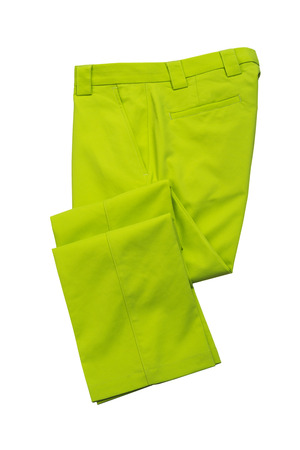 Green pants, trousers for man on white background