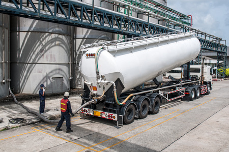 Truck, Tanker Chemical Delivery in Petrochemical Plant