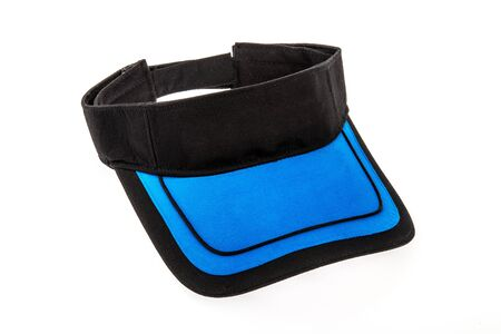 visor: Black and blue junior golf or baseball visor on white background
