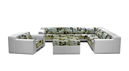sofa set: Outdoor indoor sofa set on white background