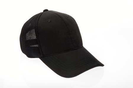 peak hat: Black golf or baseball cap on white background