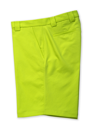 short pants: Green short pants, trousers on white background Stock Photo
