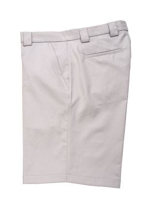 short pants: Grey short pants trousers  for men isolated on white background Stock Photo