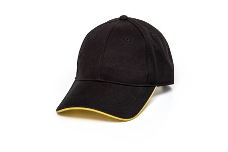 golf cap: Black and yellow golf or baseball cap on white background