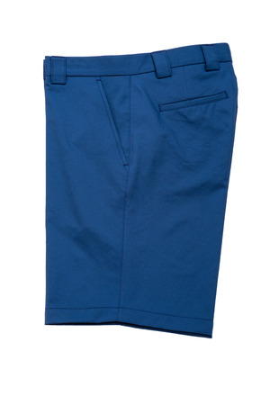 short pants: Blue short pants, trousers  for men on white background Stock Photo