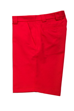 short pants: Red short pants, trousers for men on white background Stock Photo