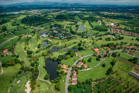Golf course club aerial photography in Thailand Stock Photo - 61492237