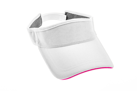 visor: Adult white golf visor on white background