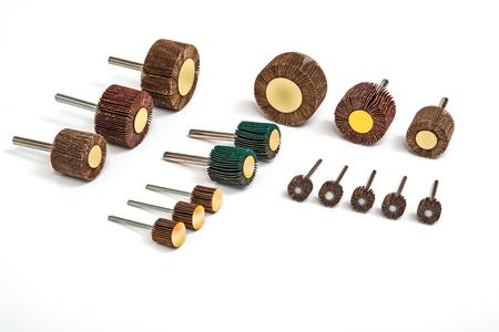 bit background: Grinding and polishing sanding drill bit set photo on white background Stock Photo