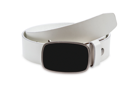 buckle: Leather white belt with metal, black buckle on white background
