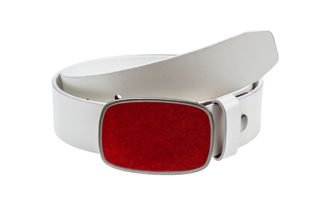 buckle: White leather  belt with metal  red buckle on white background Stock Photo