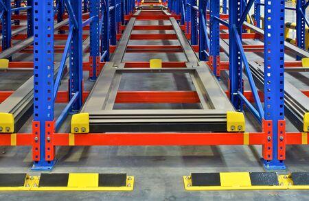 Distribution center warehouse storage shelving, metal racking pallet system