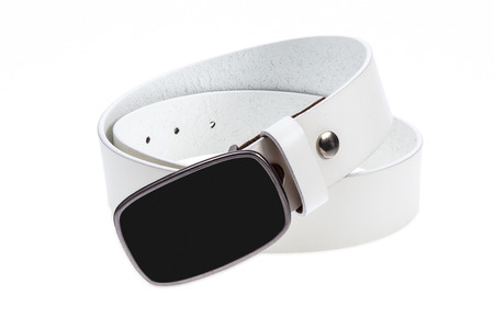 Leather white belt with metal, black buckle on white background
