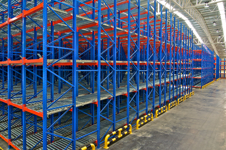 shelving: Storage racking pallet system for warehouse metal shelving distribution center Editorial