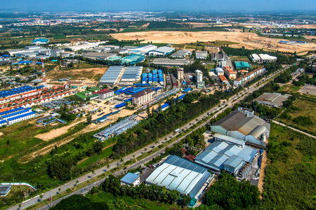 Industrial estate land development construction and residential area aerial photography