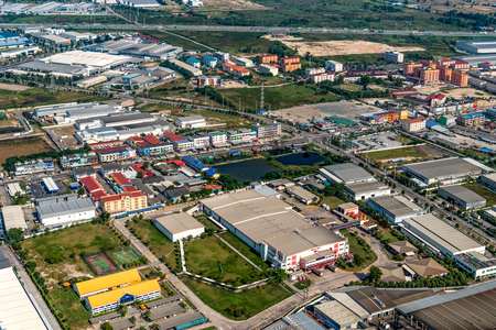 Industrial estate land development construction and residential area view Zdjęcie Seryjne