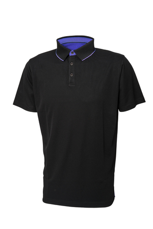 Golf black  tee shirt for man or woman with inside blue collar isolated on white background Zdjęcie Seryjne