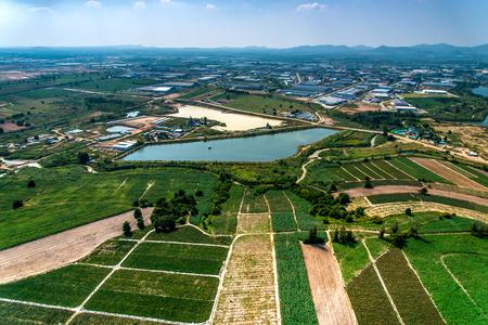 Farm land and industrial estate development Aerial photo Zdjęcie Seryjne