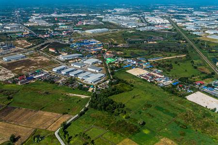 Industrial estate development in farm land Aerial photo Zdjęcie Seryjne