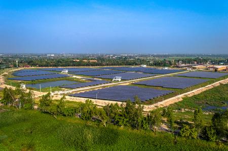 solar farm: Solar farm solar panels aerial photo from the air