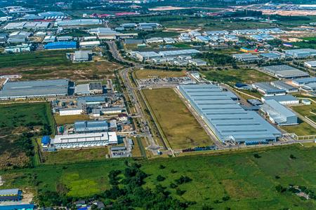 Industrial estate land development aerial view Zdjęcie Seryjne