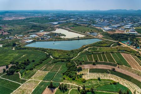 Industrial estate land development Farmland water reservoir aerial view Banque d'images