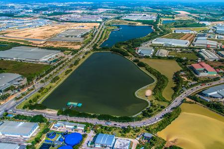 Industrial estate land development water reservoir aerial view Zdjęcie Seryjne