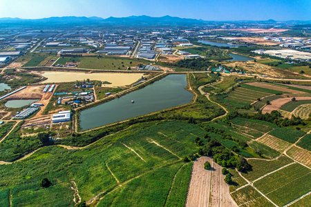 Industrial estate land development water reservoir Farm land aerial photography