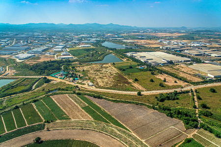 Farming industrial estate development Aerial photo
