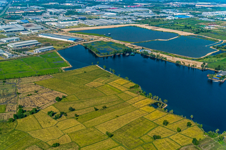 Farming industrial estate development Water reservoir Aerial photo Zdjęcie Seryjne