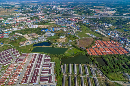 Industrial estate factories manufactures and residential housing projects aerial photography Zdjęcie Seryjne