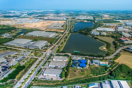 Industrial Estate Land Development, Construction Water Reservoir Aerial View Zdjęcie Seryjne