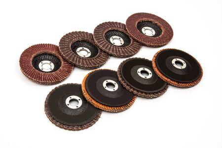 Grinding and polishing wheels discs on white background Zdjęcie Seryjne