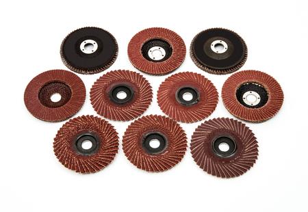 Grinding and polishing discs wheels on white background Zdjęcie Seryjne