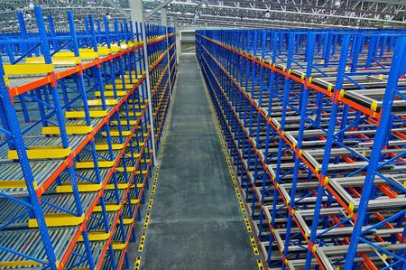 Warehouse  shelving  storage, metal, pallet racking system in warehouse