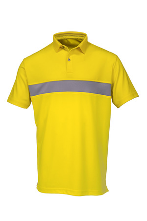Yellow golf tee shirt for man or woman on white background