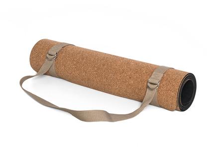 Cork Yoga Mat With Strap, Premium Eco Friendly Product on White Background Zdjęcie Seryjne - 70012366