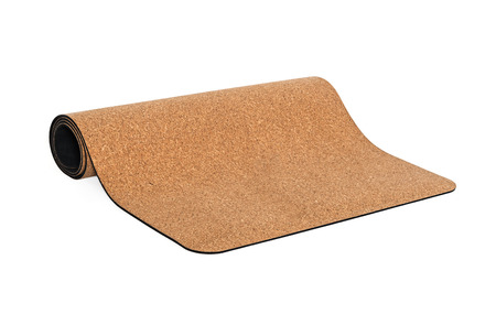 Yoga Cork Mat Premium Product Eco Friendly on White Background