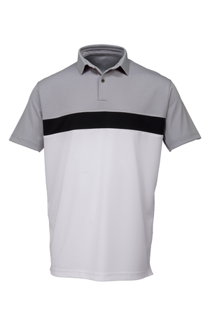 Grey, black and white golf tee shirt for man on white background Zdjęcie Seryjne - 71699947