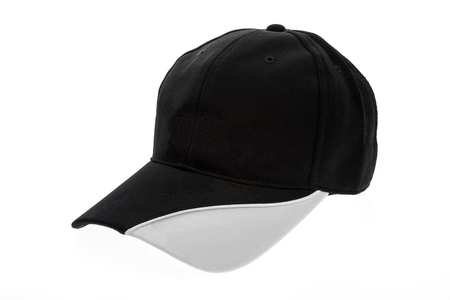 hat with visor: Golf cap black and white for man on white background Stock Photo
