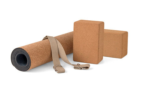 Cork Yoga Mat With Strap, Premium Eco Friendly Product on White Background