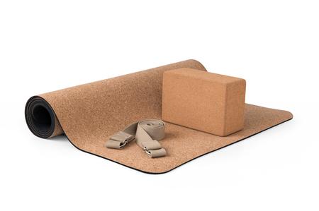 Cork Yoga Mat, Block With Strap, Premium Eco Friendly Product on White Background Zdjęcie Seryjne - 72736903