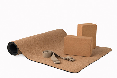 Cork Yoga Mat With Blocks and Strap, Premium Eco Friendly Product on White Background Zdjęcie Seryjne - 74258077