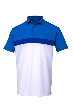 Blue and white golf tee shirt for man on white background Zdjęcie Seryjne - 72736895