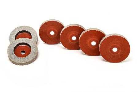 Set of  6 Grinding and polishing wheels on white background Zdjęcie Seryjne - 74305138